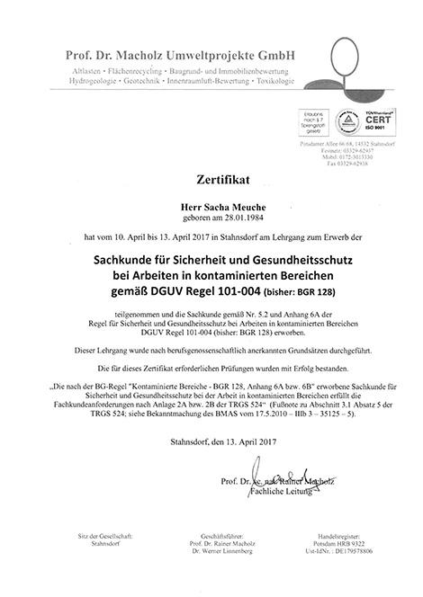 Zertifikat für Sicherheit und Umweltschutz