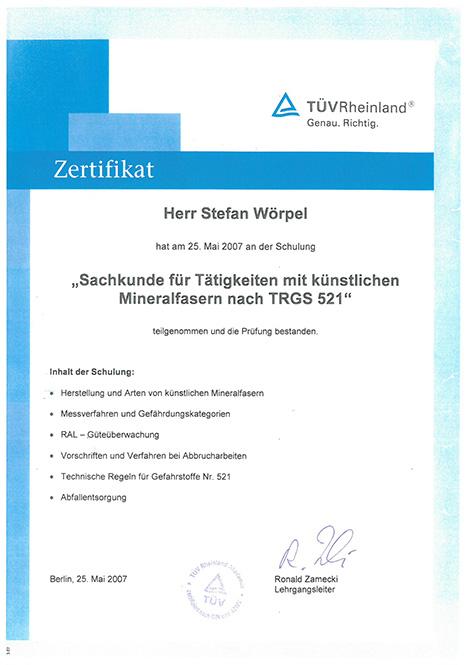 Zertifikat zum Umgang mit Mineralfasern