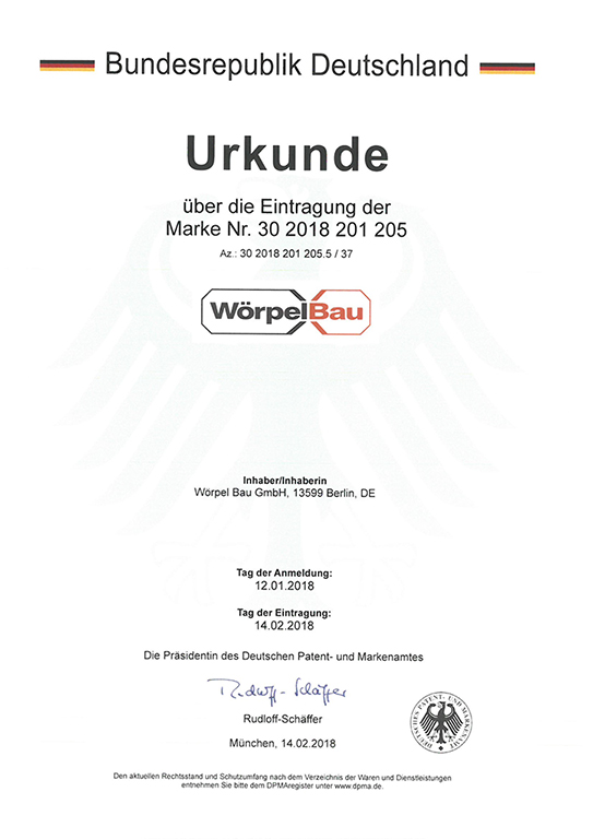 Urkunde eingetragene Marke